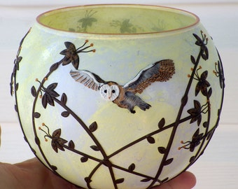 Candle Holder With Barn Owl Flying over Wildflowers Sculpted with Polymer Clay onto Recycled Glass in Greyed Yellow
