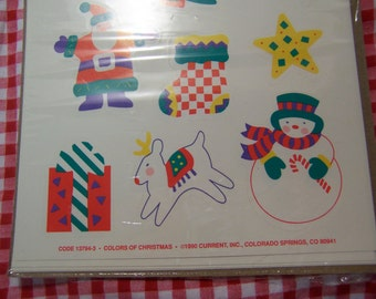 1990 current colors of christmas stickers