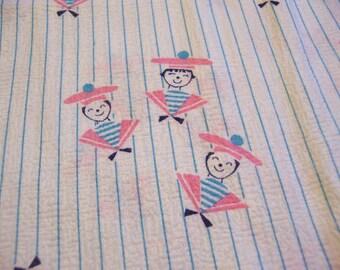 darling blue striped vintage fabric