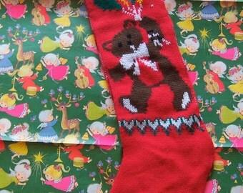 teddy bear and balloons christmas stocking