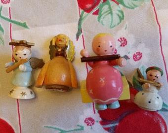 Four little vintage wooden angels