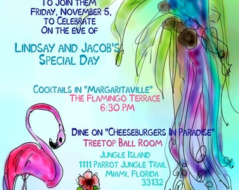 Jimmy Buffet Party Invite, Parrot, Tropical invite, Wedding shower, Party, Margaritaville, flamingo