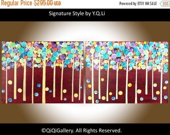 "48"" abstract painting Wall decor wall art decorative art hand paint canvas art  ""Fantasy Woodland"" by QIQIGALLERY"