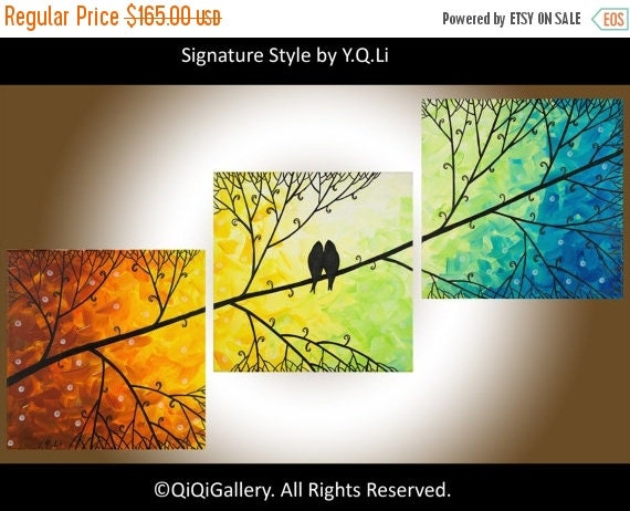 "Contemporary wall art love birds art set of 3 painting wall decor red yellow orange green blue canvas painting ""Harmony"" by QIQIGALLERY"