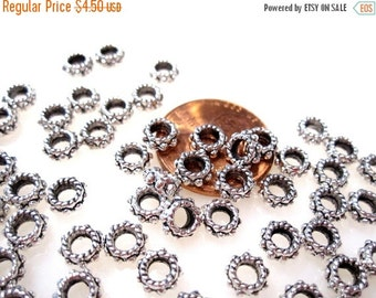 50% Off 50 Large Hole Spacer Beads Antique Silver Spacer Beads 3x8mm Large 3.23mm Hole MB1027 A16INV