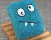 Felted Soap - Grapefruit and Berry Scented in a Blue Silly Monster Theme