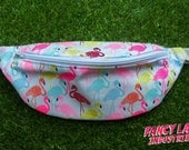 Neon Flamingos Bumbag - small and large sizes