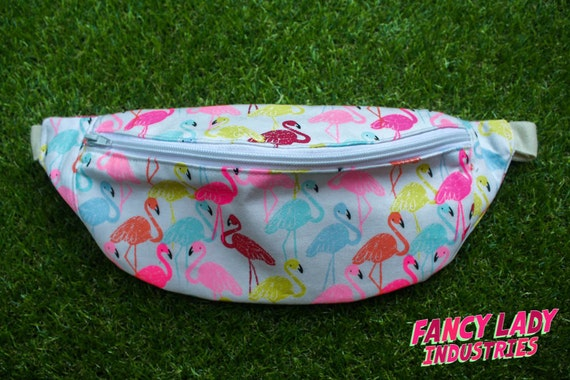 "Neon Flamingos Bumbag/ Fanny Pack - small fits waist up to  121cm/ 48""."
