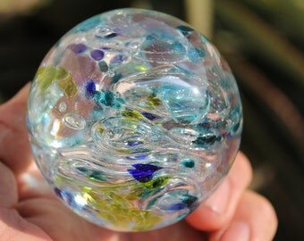 Large Glass Marble 2 1/2 Inch - Marble Collector Gift - Hand Blown - With glass cube stand  [My stock number is (bgm-71.]