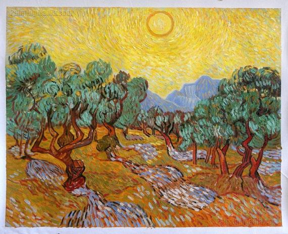 Oliviers avec ciel jaune et soleil-Vincent van Gogh