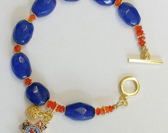 Anglican Rosary Bracelet Faceted Genuine Sapphire & Carnelian, Vermeil, Micromosaic Cross