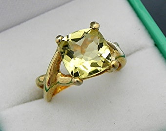 AAAA Lemon Quartz Cushion cut   9x9mm  2.82 Carats   14K Yellow gold - ELKE- Infinity style engagement ring 0768