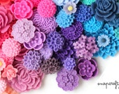 100pc resin flower cabochon mix / wholesale grab-bag of high quality resin cabochons / red, orange, yellow, green, blue, purple, pink