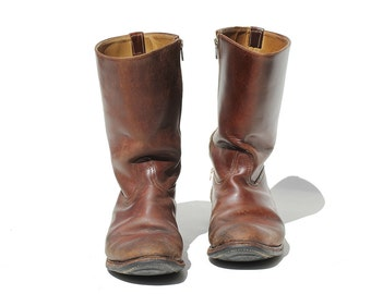 Vintage Men's Brown Leather Pull on Boots / size 9.5