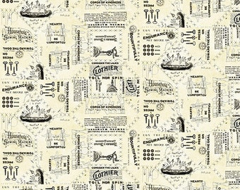 "VINTAGE CANVAS TEXT Parchment ""She Who Sews"" Printed Cotton Quilt Fabric by the Yard, Half Yard, or Fat Quarter Fq Sewing"