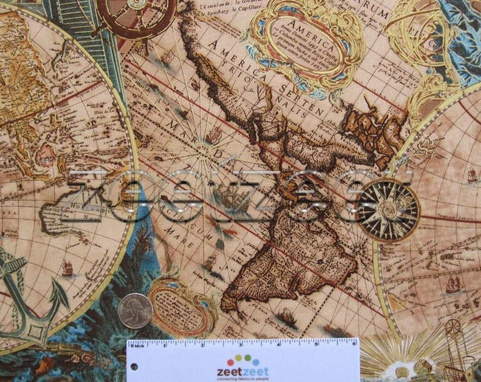 WORLD MAP Brown Teal 100% Cotton Apparel Quilting Weight Fabric by the Yard, Half-yard, or Fq Fat Quarter Travel
