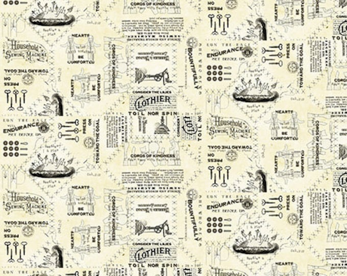 """VINTAGE CANVAS TEXT Parchment """"She Who Sews"""" Printed Cotton Quilt Fabric by the Yard, Half Yard, or Fat Quarter Fq Sewing"""