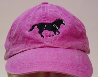 BLACK MUSTANG HORSE Hat - One Embroidered Men Women Cap - Price Embroidery Apparel - 24 Color Caps Available