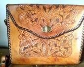 Large Chestnut Brown Vintage Tooled Leather Handbag