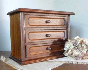 vintage wood wooden chest cupboard with three drawers jewelry box made in Italy  storage