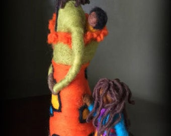 Needle Felted Sculpture of family
