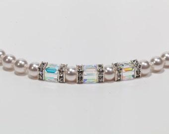 Hand Made Swarovski Pearl & Swarovski Crystal Necklace and Earrings
