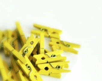 Yellow Mini Pegs {25} | Christening Baptism | DIY Supplies | Summer Gift Wrap | Baby Shower Announcement