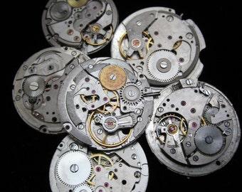 Vintage Antique Round Watch Movements Steampunk Altered Art Assemblage A 41