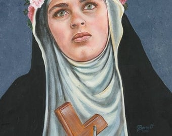 """St. Rose of Lima Peru,  Dominican Nun, 8""""x10"""" & 11""""x14"""" Prints on White Card Stock, Image taken from my Original, Signed Acrylic Painting"""