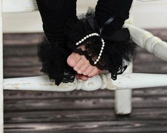 Black Lace ruffle tutu leg warmers - Antique Cream Lace Ruffle Tutu Leg Warmers - perfect birthday, photo prop, wedding Lace leggings