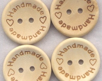 Handmade Buttons Decorated Wooden Buttons 23mm (1 inch) Set of 4 /BT194
