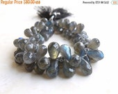 Clearance SALE Labradorite Gemstone Briolette AAA Grey Faceted Teardrop Drilled 8 to 9.5mm 80 beads