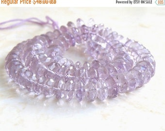 Clearance SALE Outstanding Pink Amethyst Gemstone German Cut Faceted Rondelle 8mm 46 beads
