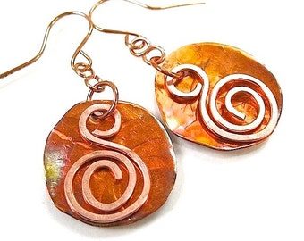 Large Copper Earrings Rustic Metal Swirls, Primitive Metalwork, Bohemian Statement, Boho Gift for Women, Eco Friendly Artisan Creation E306A