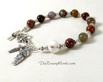Undoer of Knots Rosary Bracelet Miraculous Medal St Therese Divine Mercy Holy Family Multi Color Chaplet Single Decade Prayer Beads