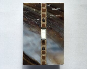 Brown Wall Plate, Stained Glass Switch Plate, Light Switchplate, Single Toggle Switch, Dimmer Switch, Wall Switch Plate, Decorative Art 8376