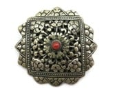 Antique Silver Berber Pendant - Carnelian, Filigree, Viking Style