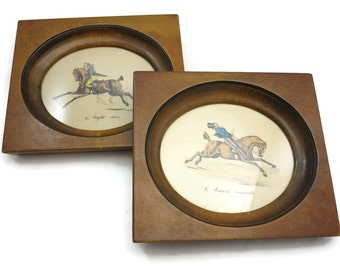 Equestrian Prints - Set of Two, Hand Tinted, Humor
