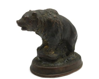 Grizzly Bear Metal Figurine - Paperweight