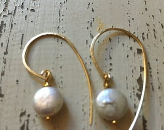 Gold Button Pearl Earrings