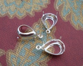 12 Sterling Silver Plated 14x10mm Pear/ Teardrop 1 Ring/Open Back Settings for Flat Back Cabs or Pointed Back Jewels