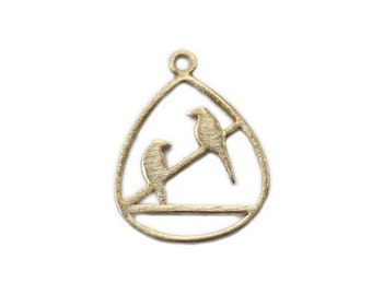 Gold over 925 Sterling Silver Two Birds Pendant 20mm (CG7621)