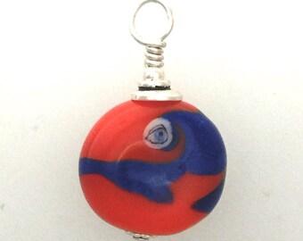 Small Lamp Work Glass Eye Bead Pendant #1
