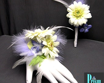 Pastel Gerbera and Feather Wrist Corsage Set