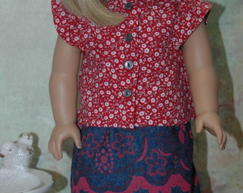 Doll clothes for 18 inch doll, denim skirt, blouse, shirt