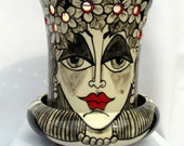Ceramic Orchid Pot/ Planter 2 Piece Black & White with Red accents Impressionistic Woman's Face and Flowers on Etsy