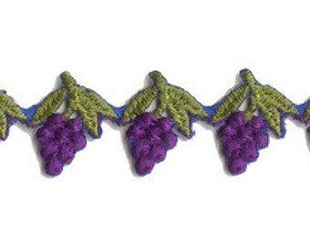 "Fancy 1 Yard Woven Colorful Purple Grapes Embroidered Embroidery Trim 1"" Wide"