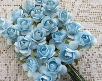 Paper Flowers 36 Petite Millinery Roses In Soft Blue ~ 3 Bundles