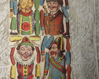 Germany Reprint Circa 1892 4 Victorian Figures Clown Soldier Jumping Jacks For You To Make