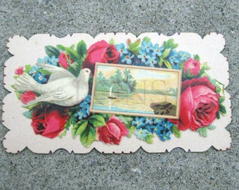 Victorian Calling Card Dove Rose Boat hidden name salesman sample antique calling card
